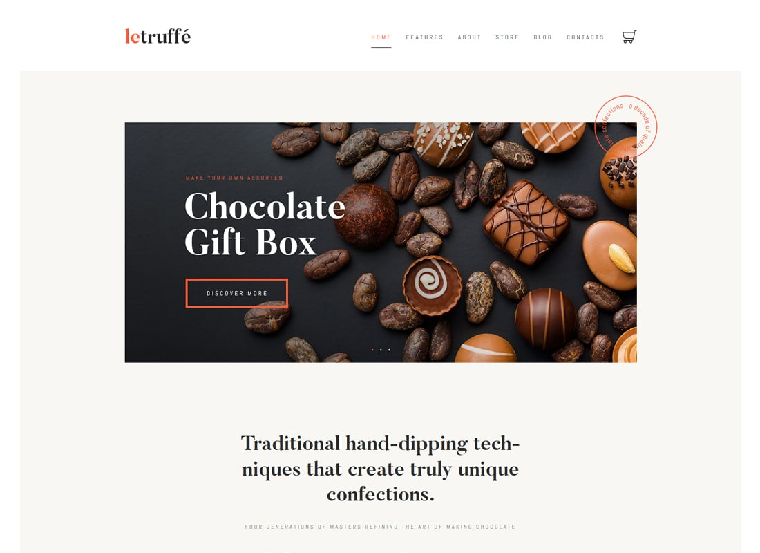 Le Truffe - Chocolate Boutique WordPress Theme Website Template