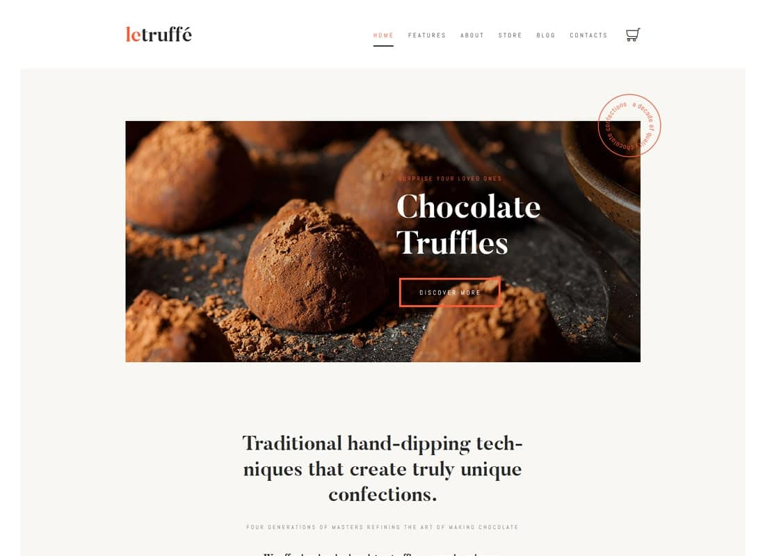 Le Truffe | Chocolate Boutique WordPress Theme Website Template