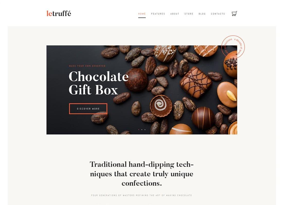 Le Truffe | Chocolate Boutique WordPress Theme Website Template