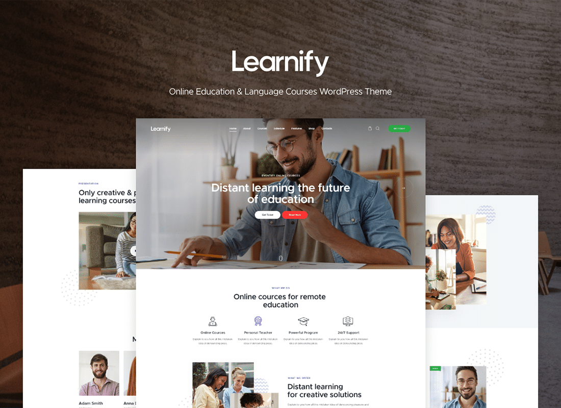 Learnify - Online Education Courses WordPress Theme Website Template