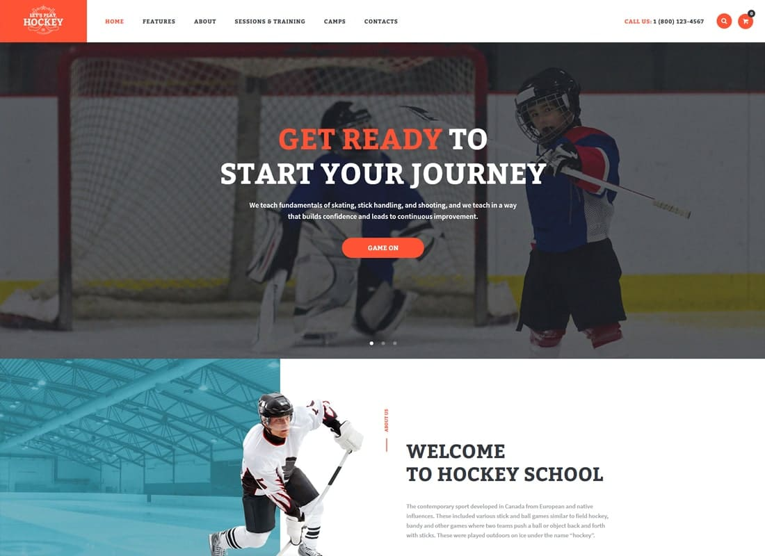 Let's Play | Hockey School & Winter Sports WordPress Theme Website Template