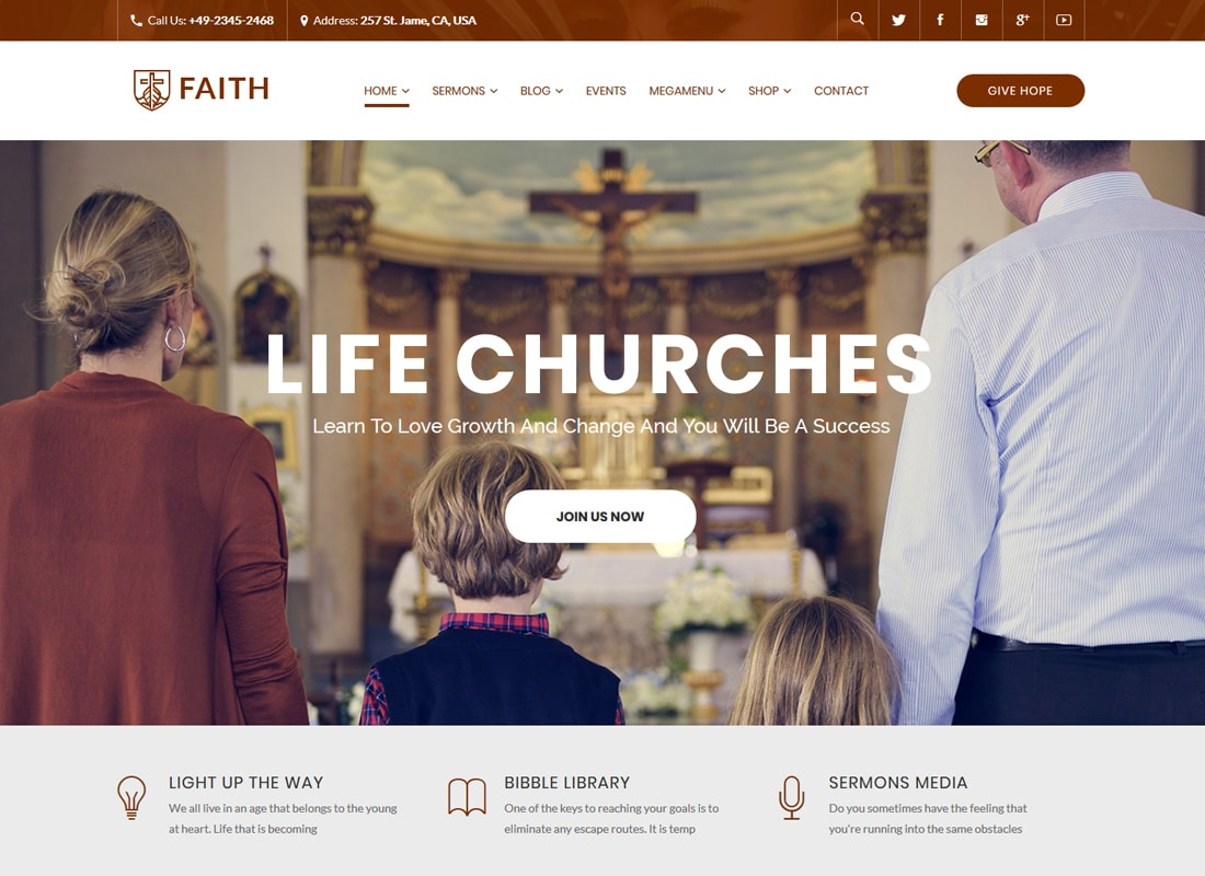 Life Churches | WordPress Theme for Churches and Events Website Template