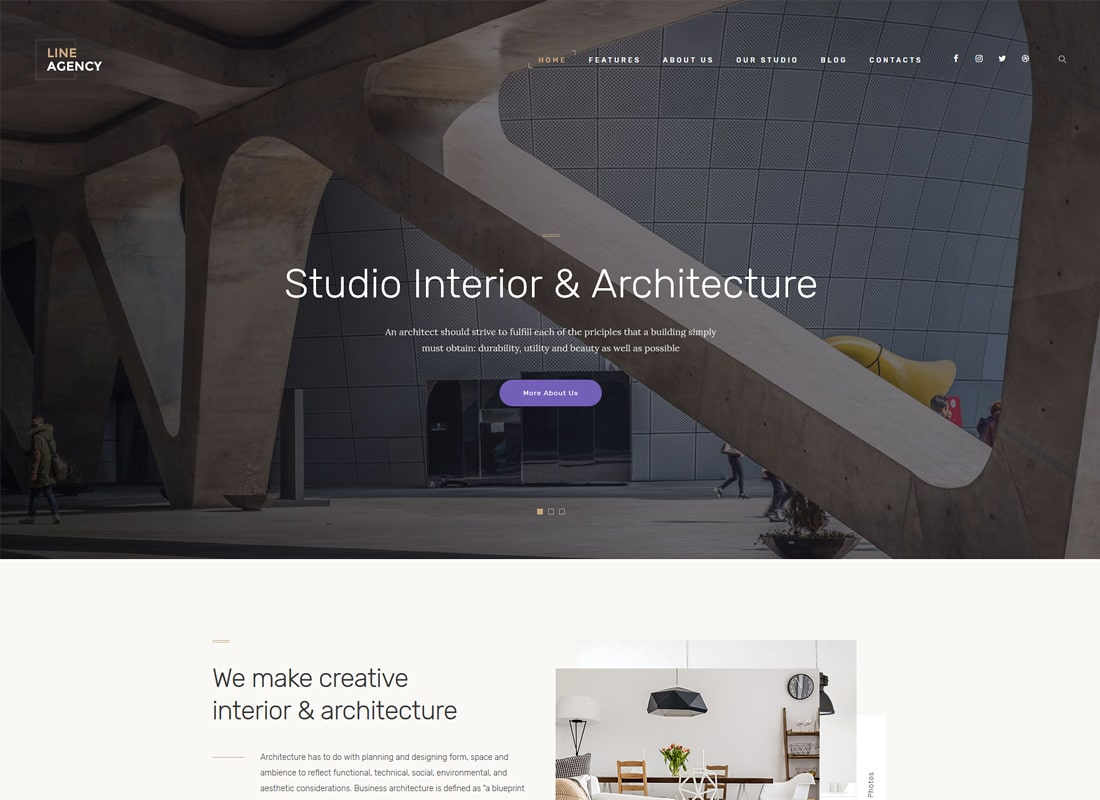 Line Agency | Interior Design & Architecture WordPress Theme Website Template