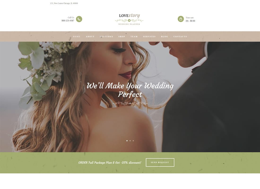 Love Story - A Beautiful Wedding and Event Planner WordPress Theme Website Template