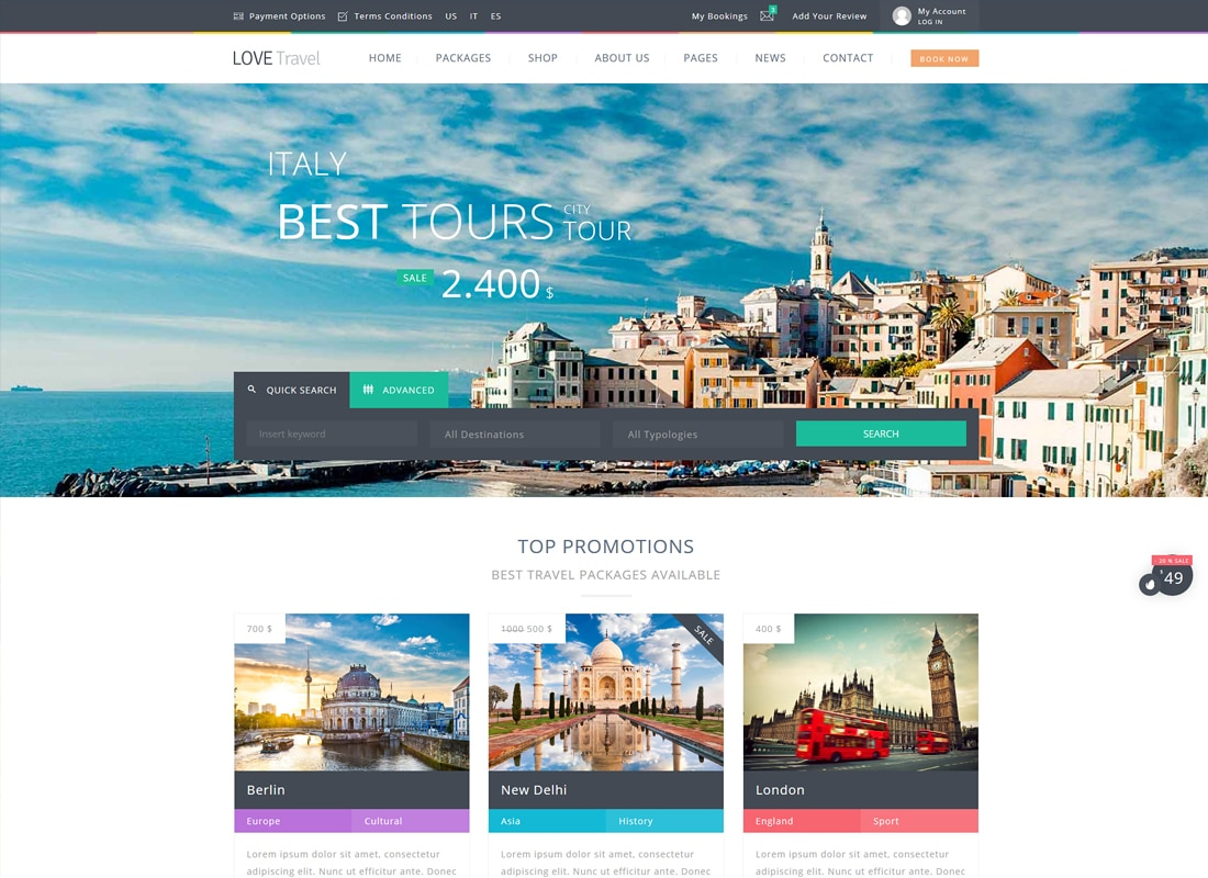 Love Travel - Creative Travel Agency WordPress   Website Template