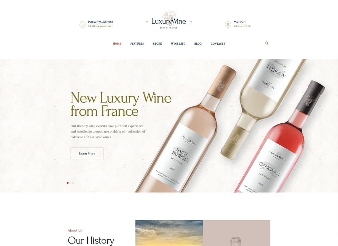 Luxury Wine | Wine House, Winery & Wine Shop WordPress Theme Website Template