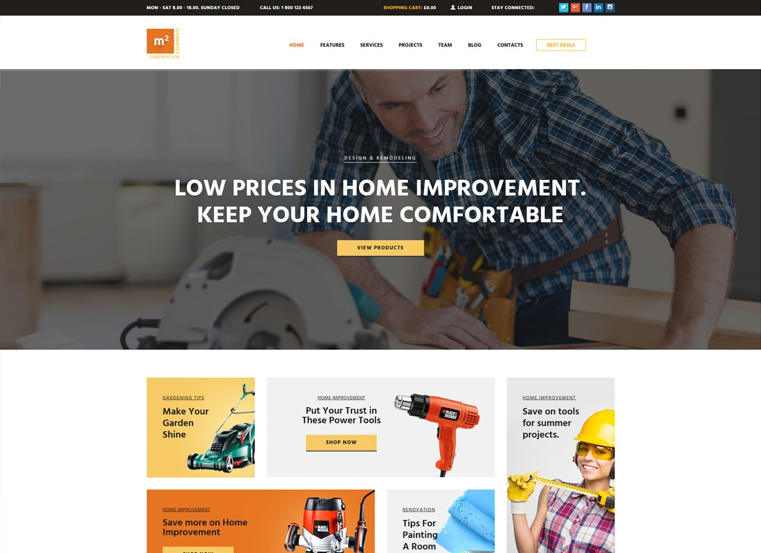 m2 | Construction Equipment and Building Tools Store WordPress Theme Website Template