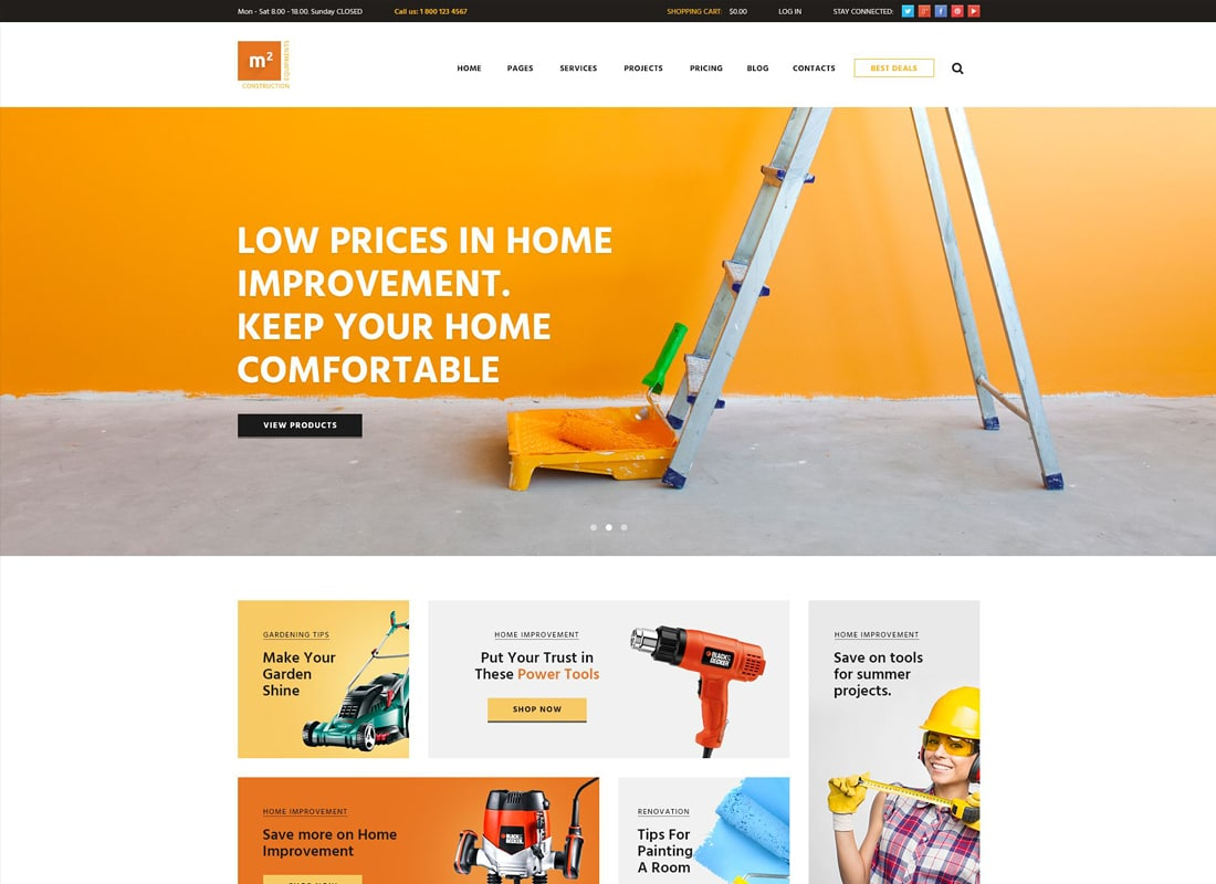 m2 | Construction Equipments and Building Tools Store WordPress Theme Website Template