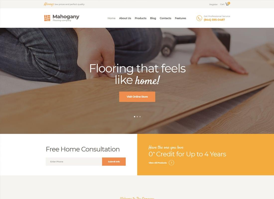 Mahogany | Carpenting Woodwork & Flooring Company WordPress Theme Website Template