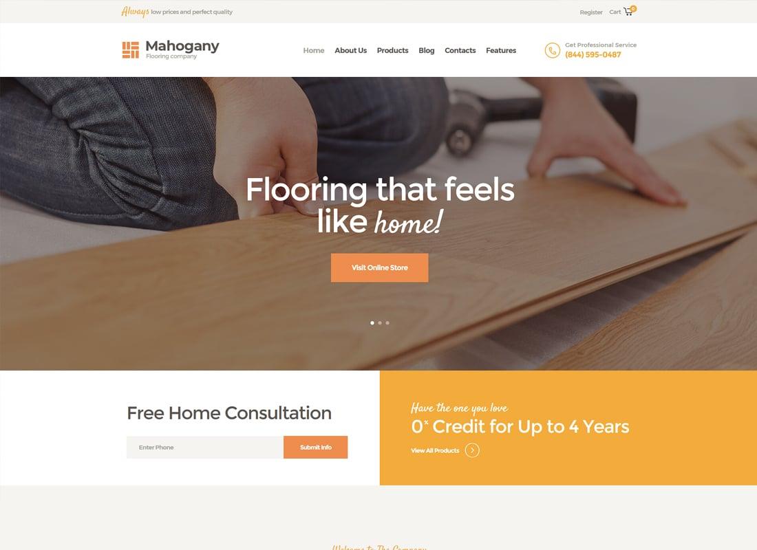 Mahogany | Flooring Company WordPress Theme Website Template
