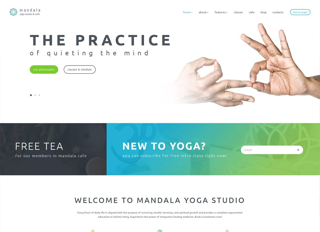 Mandala | Yoga Studio and Wellness Center WordPress Theme Website Template