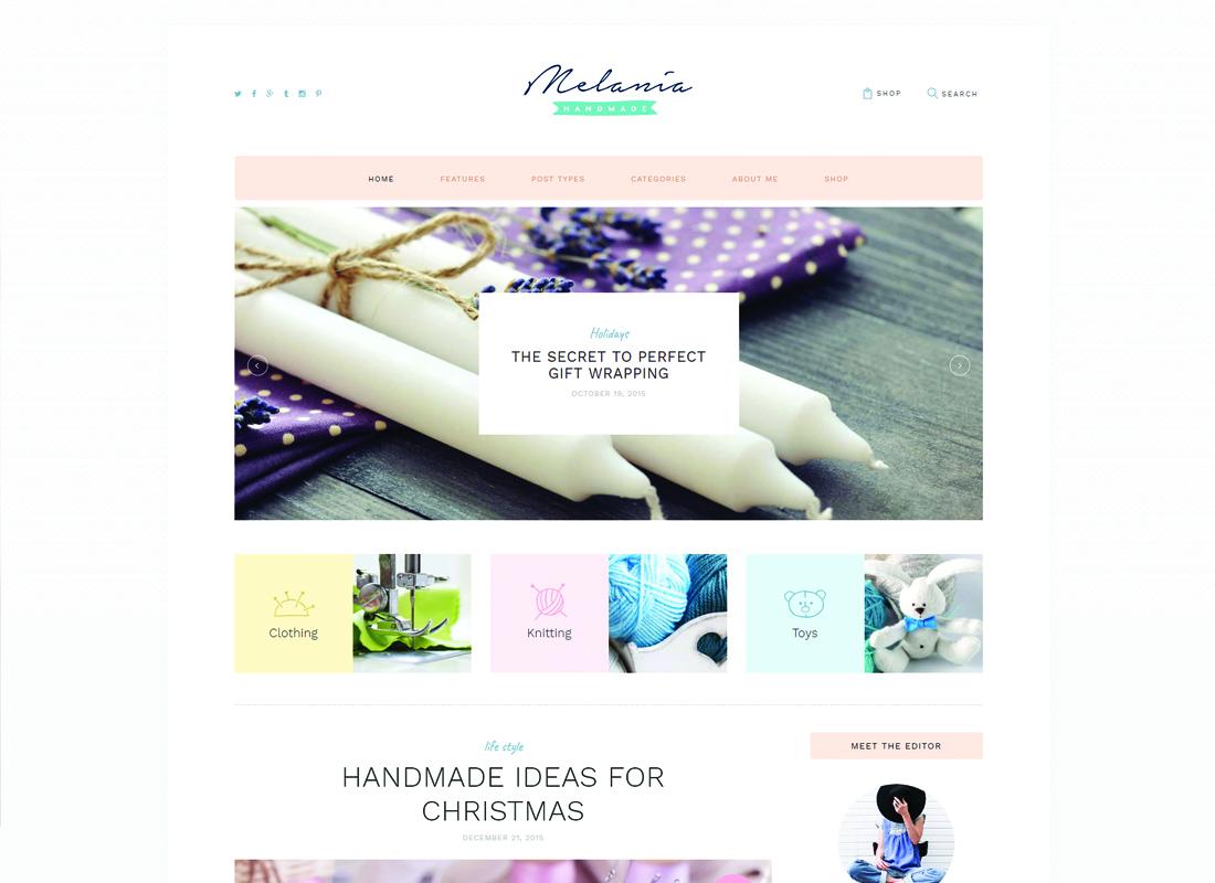Melania | Handmade Blog & Shop WordPress Theme Website Template