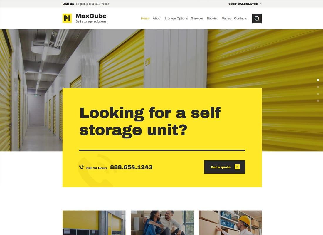 MaxCube - Self Storage Business WordPress Theme Website Template