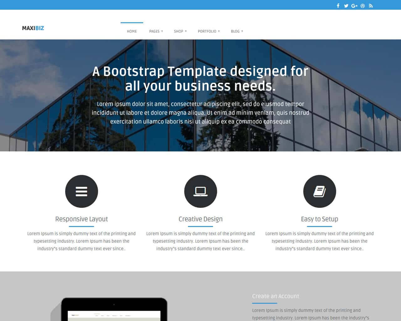 maxibiz - bootstrap business website template - templatemag