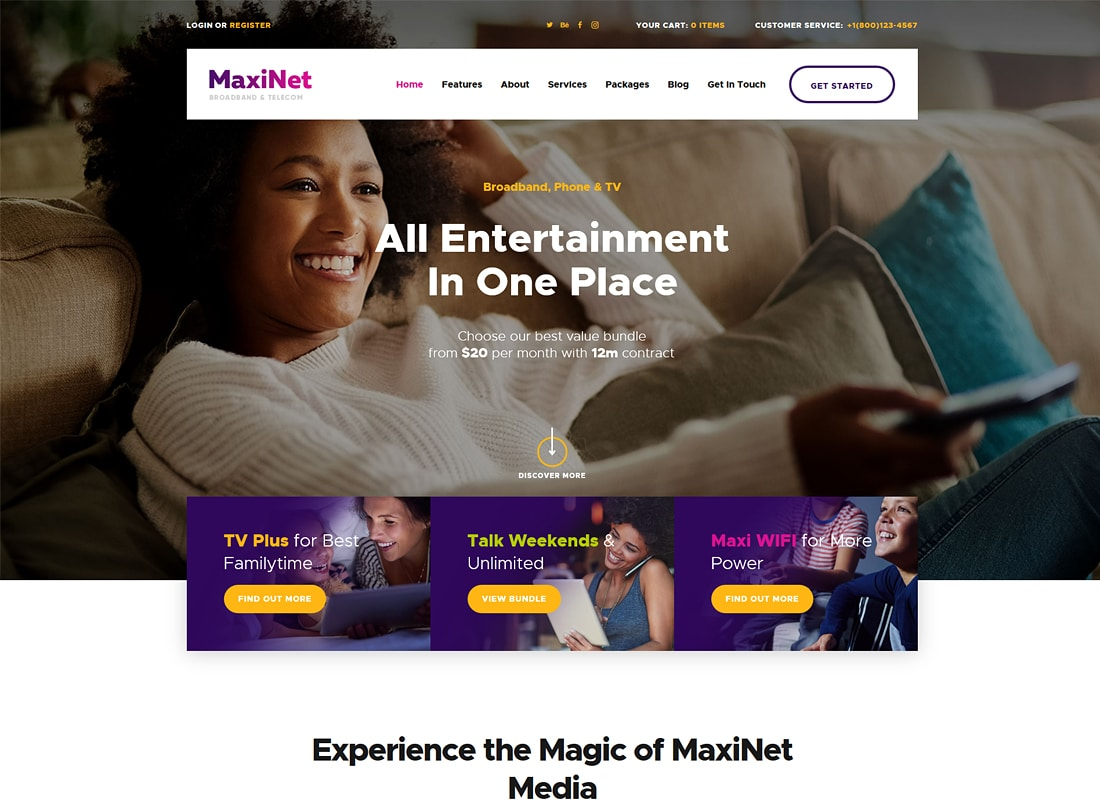 MaxiNet | Broadband & Telecom Internet Provider WordPress Theme + Elementor Website Template