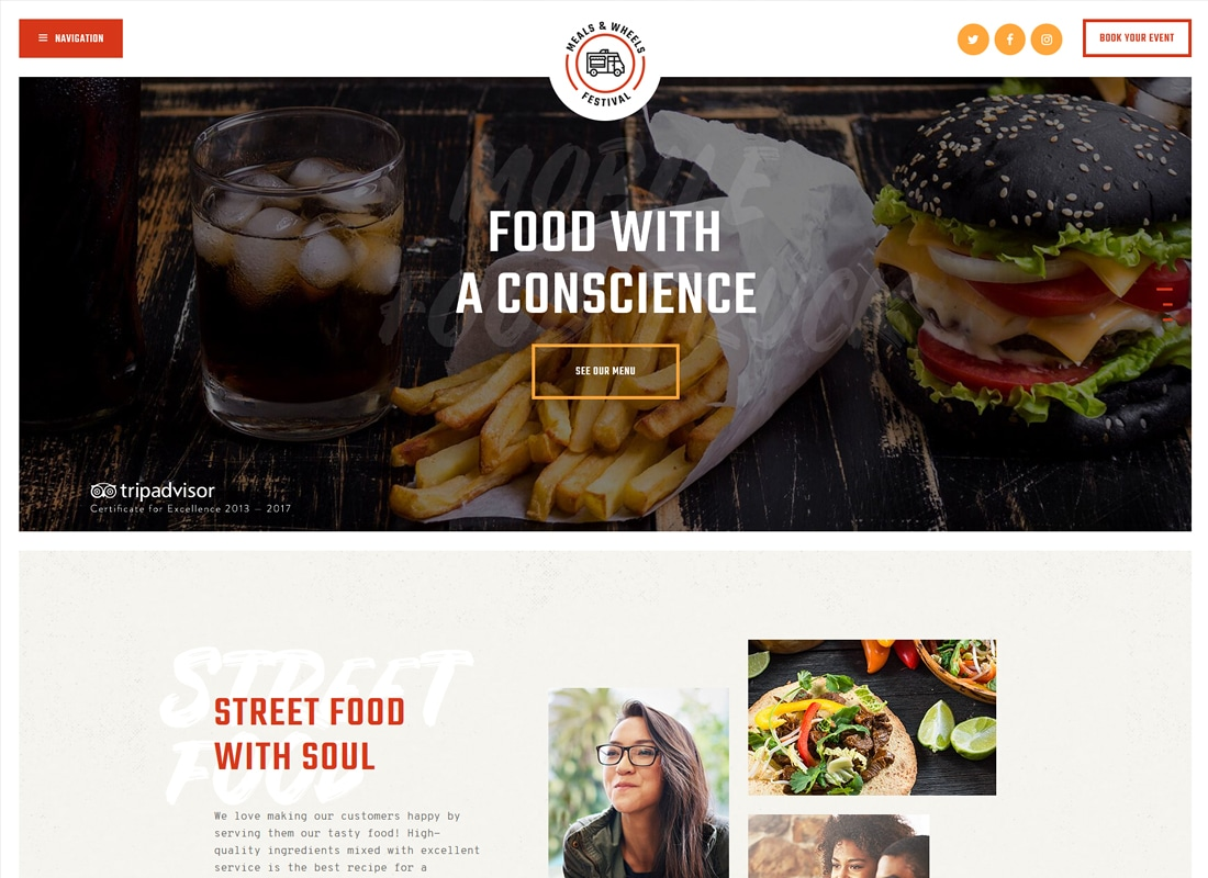 Meals & Wheels - Street Food Festival & Fast Food Delivery WordPress Theme Website Template