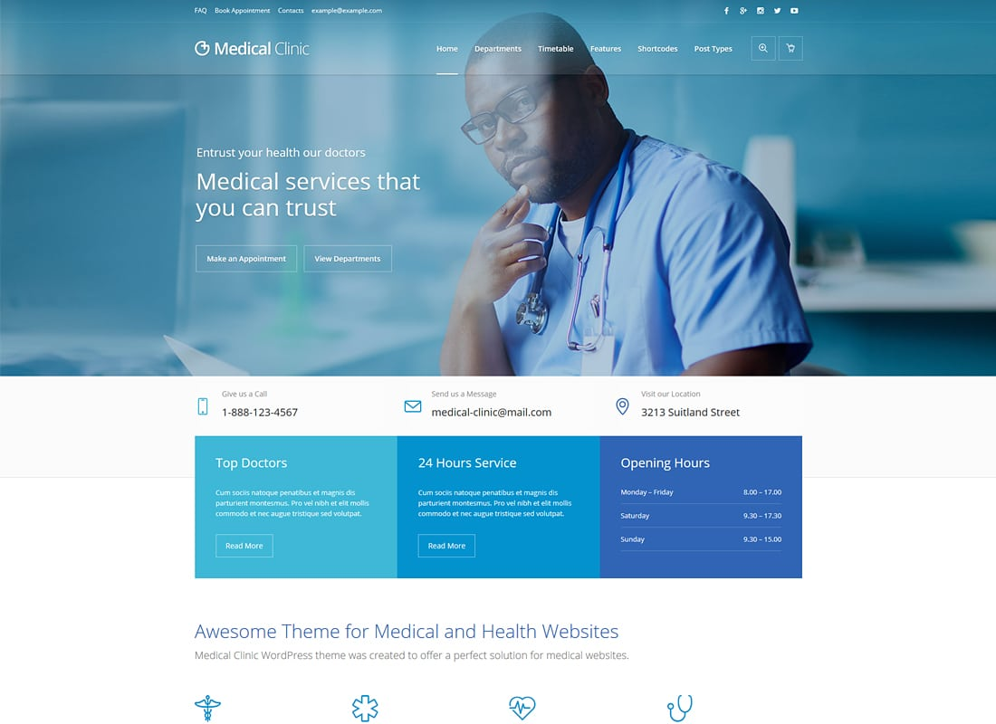 Medical Clinic - Health & Doctor Medical WordPress Theme Website Template