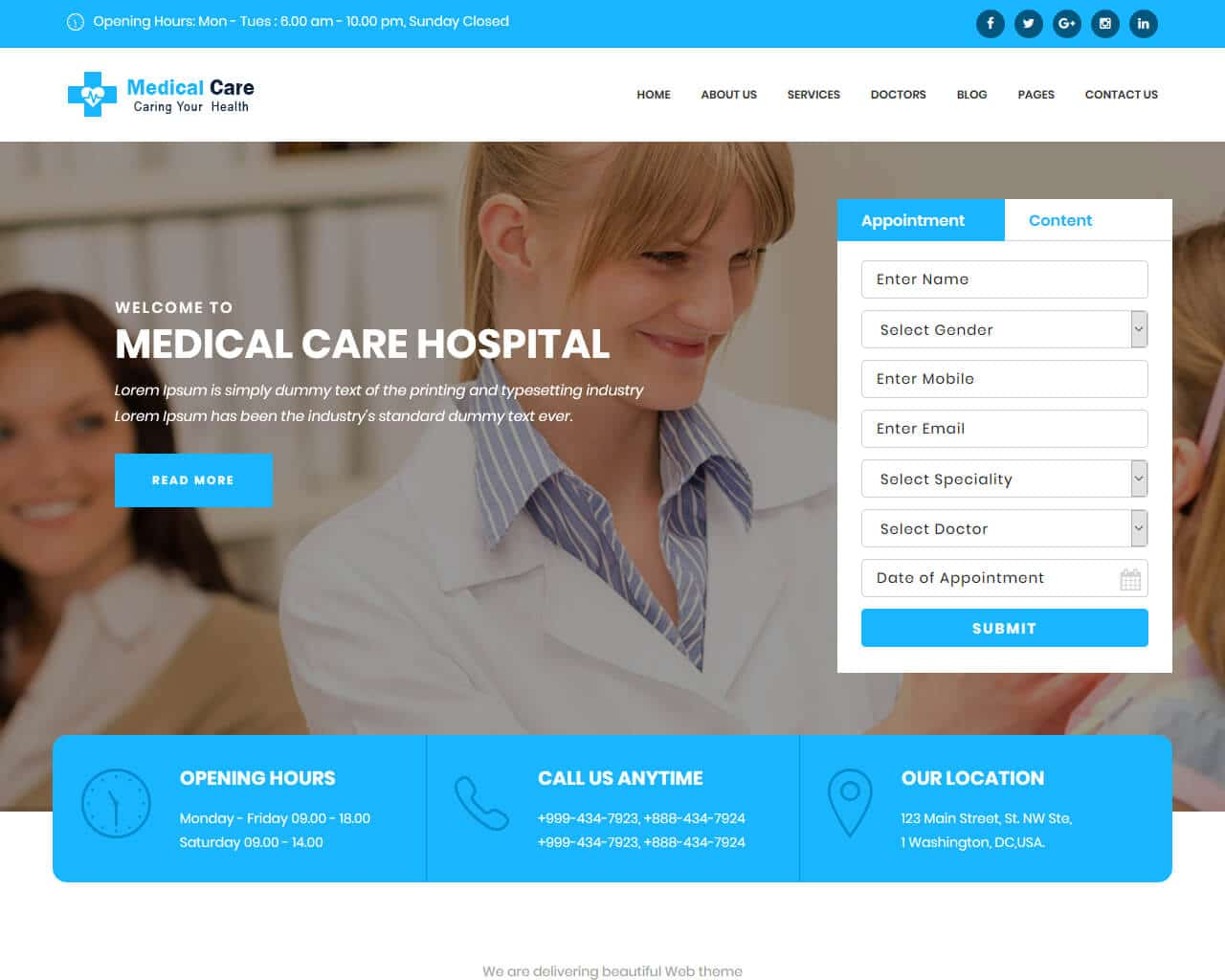 Medical Care Website Template