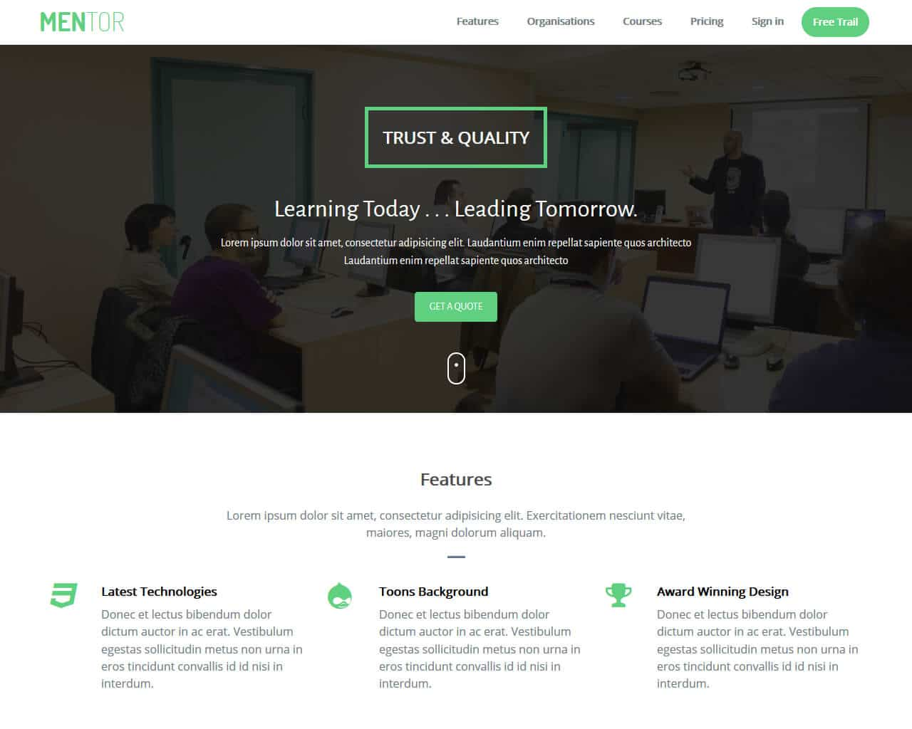 Mentor Website Template