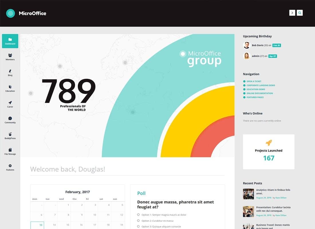 Micro Office | Extranet & Intranet WordPress Theme Website Template