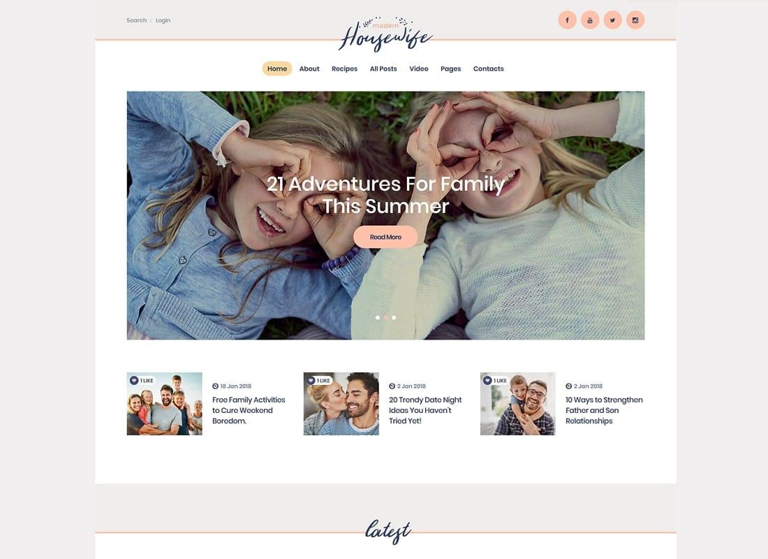 Modern Housewife | Women & Family WordPress Blog Theme Website Template
