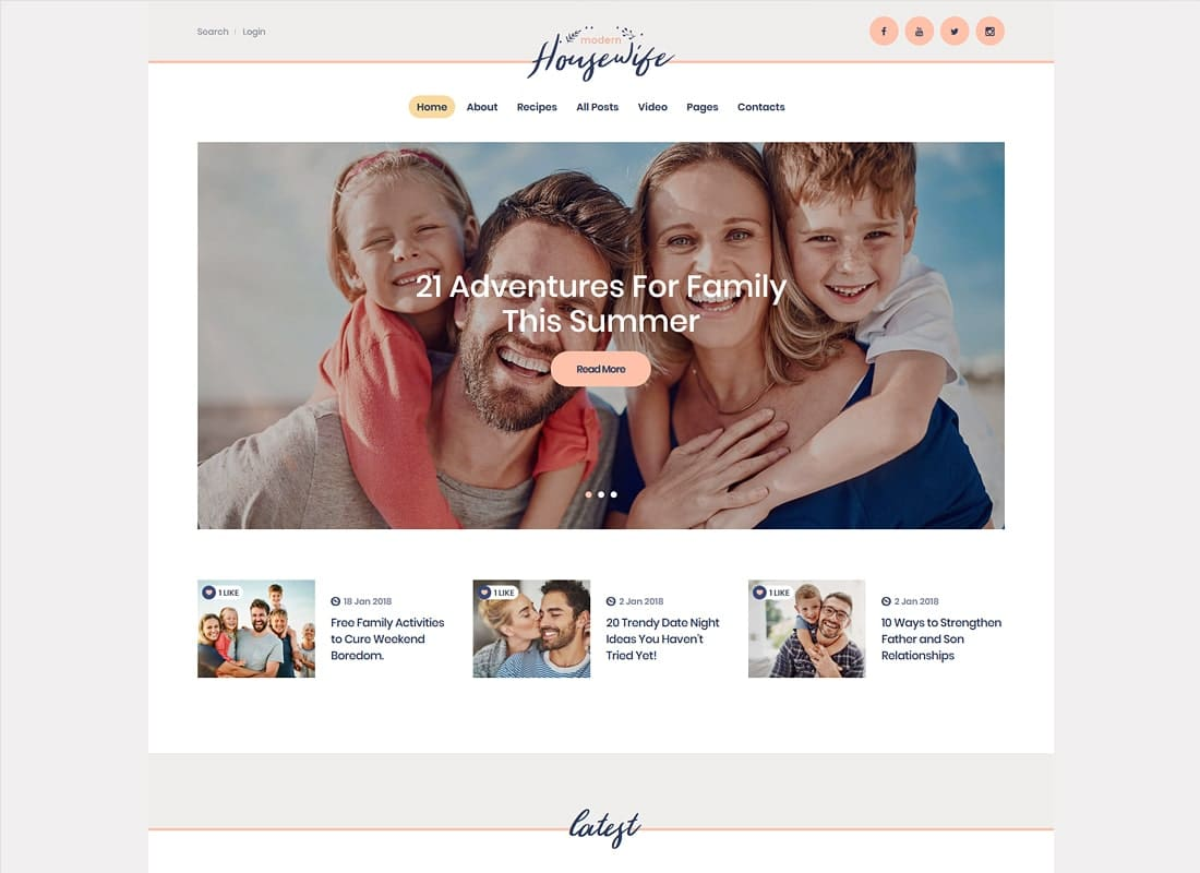 Modern Housewife | Women & Family WordPress Blog Theme Website Template