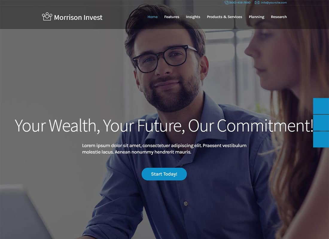Investments, Business & Financial Advisor WordPress Theme Website Template