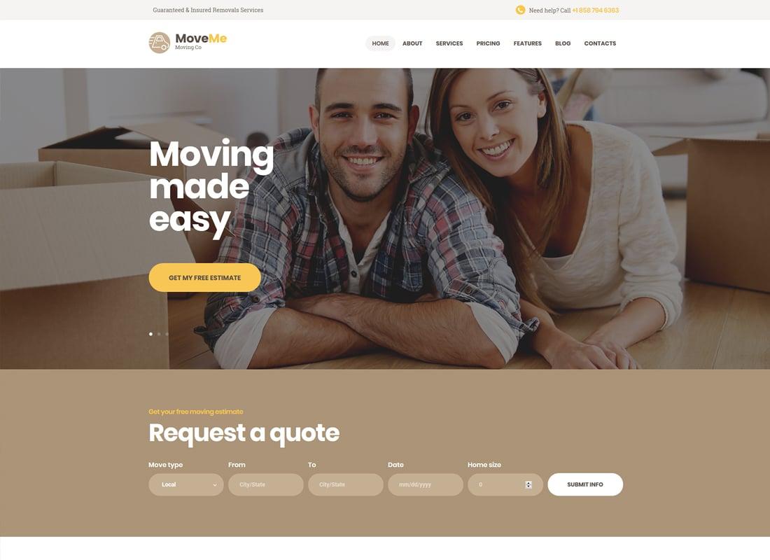 MoveMe - Moving & Storage Company WordPress Theme Website Template