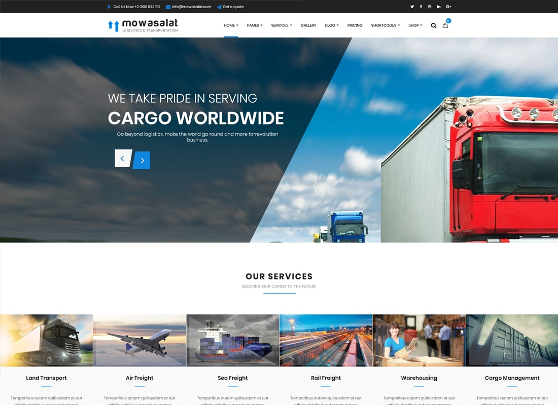 Mowasalat - Logistic and Transports WP Theme Website Template