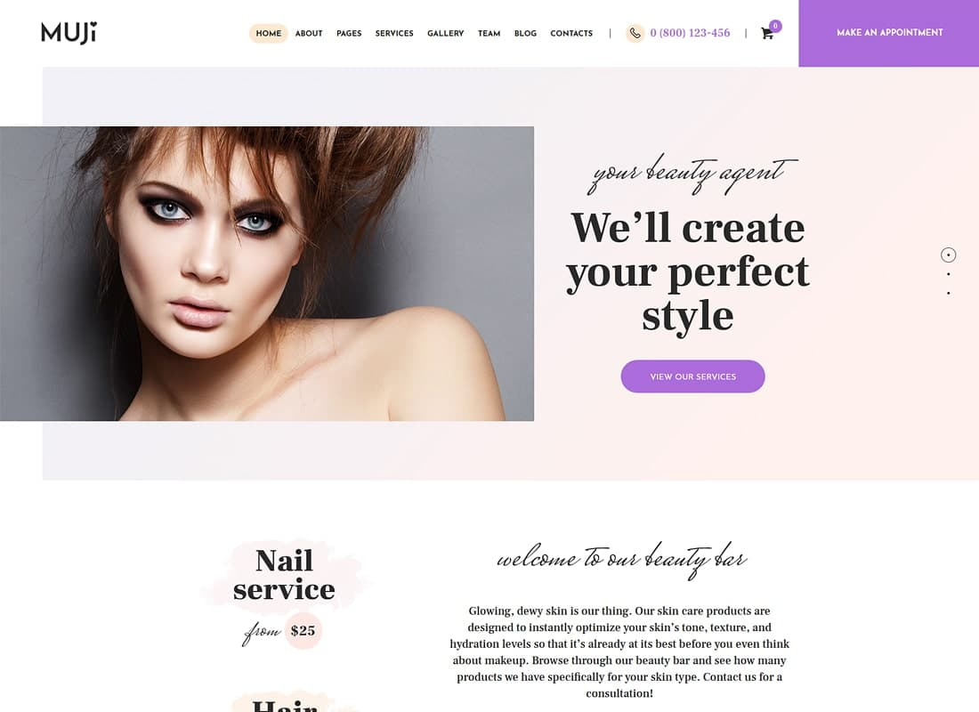 Muji | Beauty Shop & Spa Salon WordPress Theme Website Template