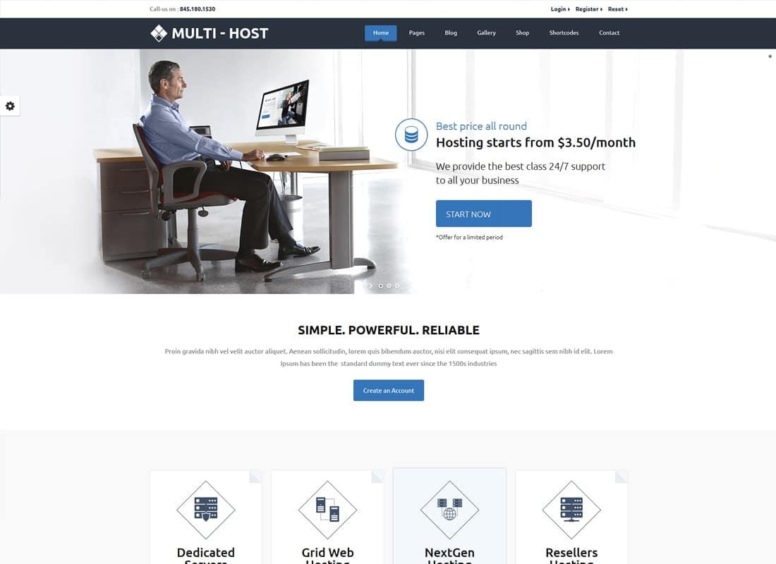 Multi Hosting | WHMCS Hosting WordPress Theme Website Template