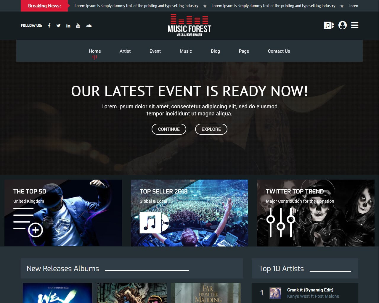 20+ Stunning Music Website Templates for Your Band 2018