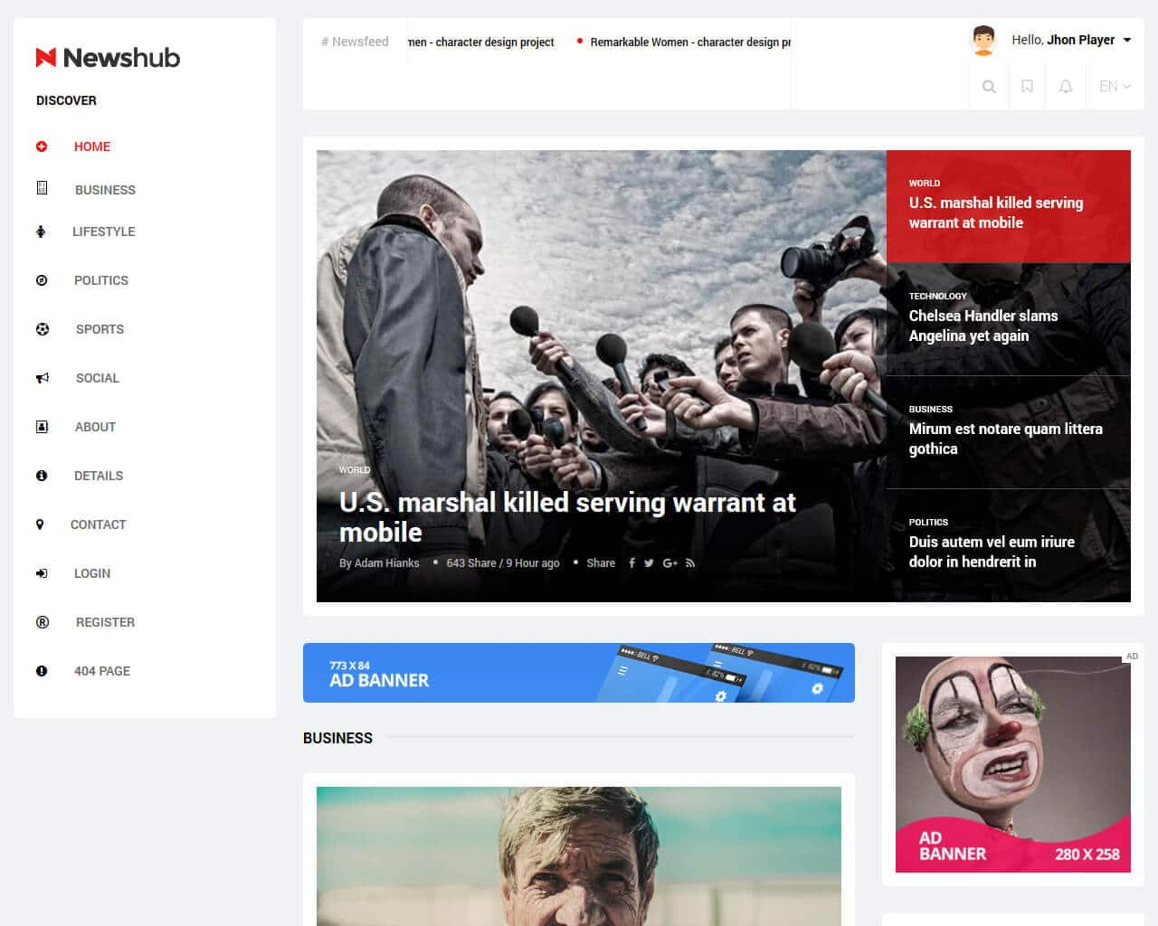 Newshub Website Template
