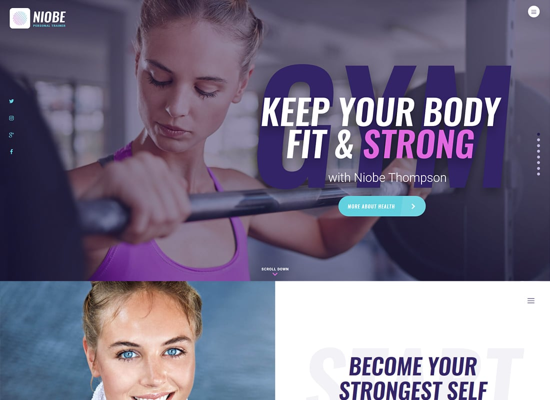 Niobe - A Gym Trainer & Nutrition Coach WordPress Theme   Website Template