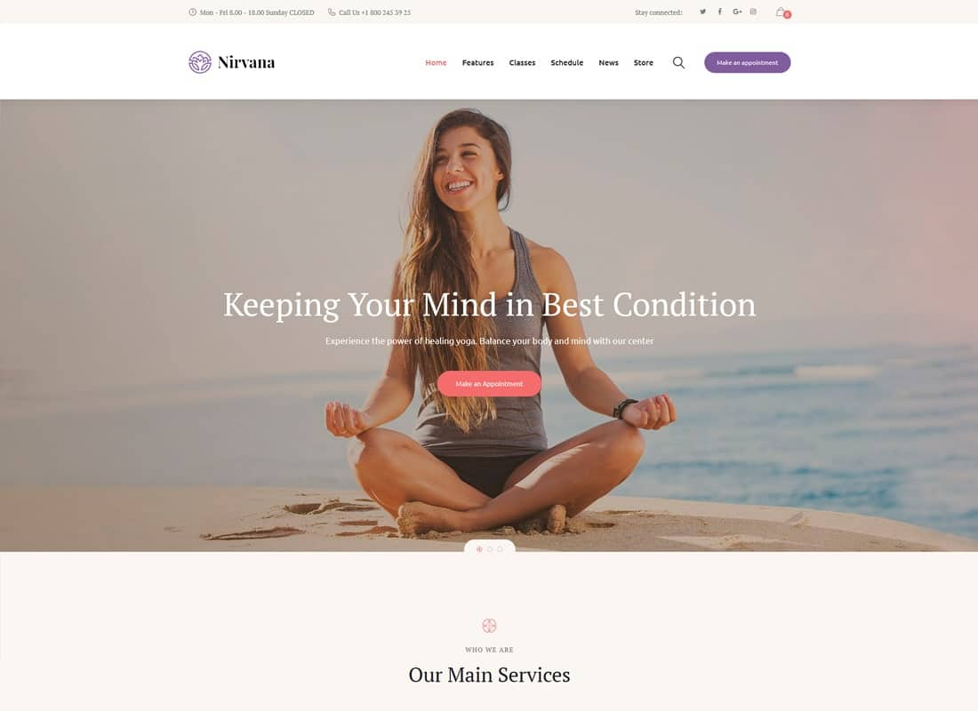 Nirvana | Yoga Studio and Fitness Club WordPress Theme Website Template