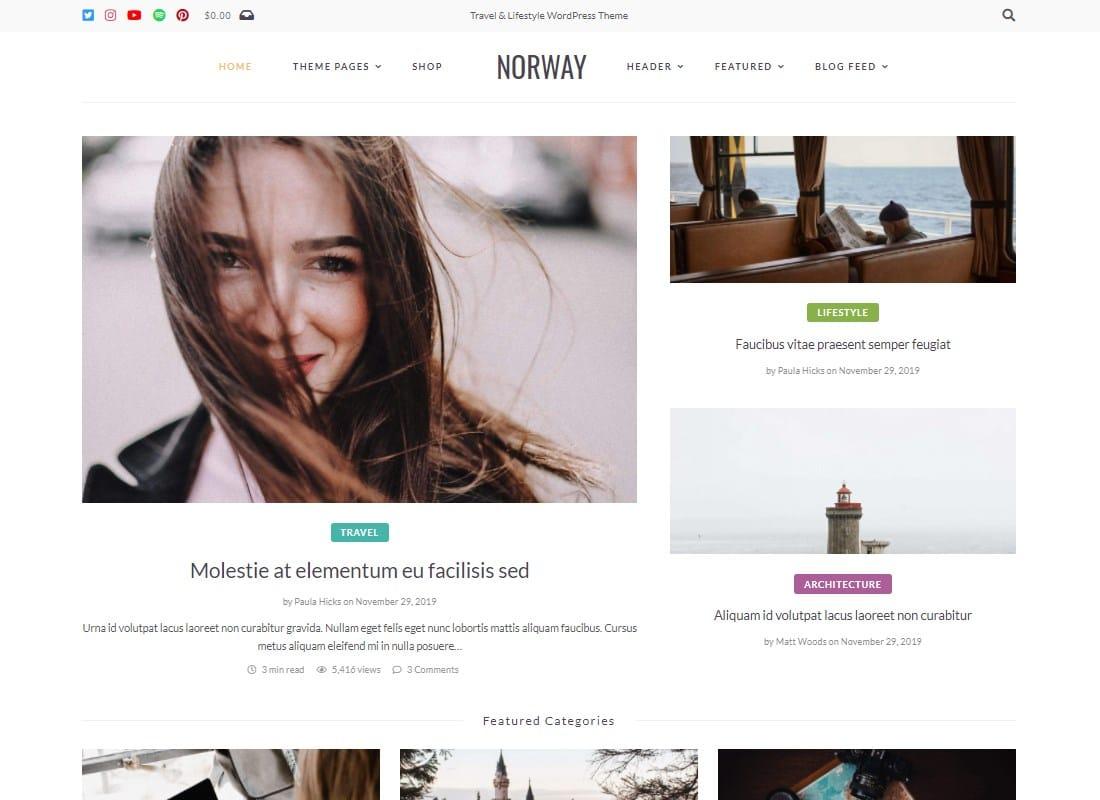 Norway - Minimal Travel Blog WordPress Theme Website Template