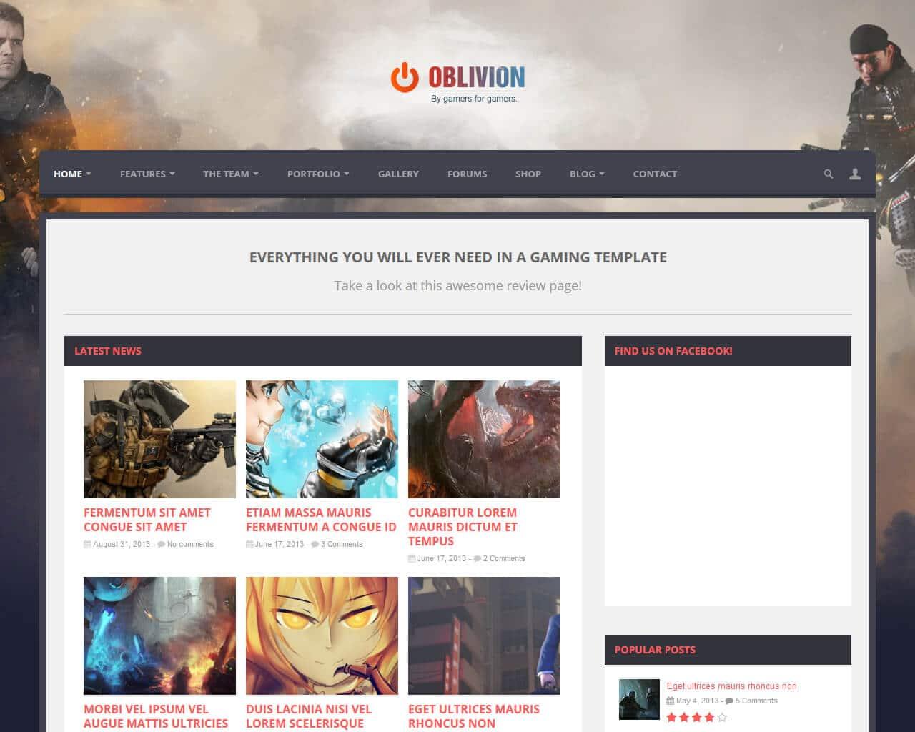 Oblivion Website Template