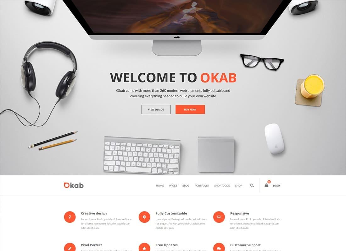 Okab - Responsive Multi-Purpose WordPress Theme + RTL Website Template