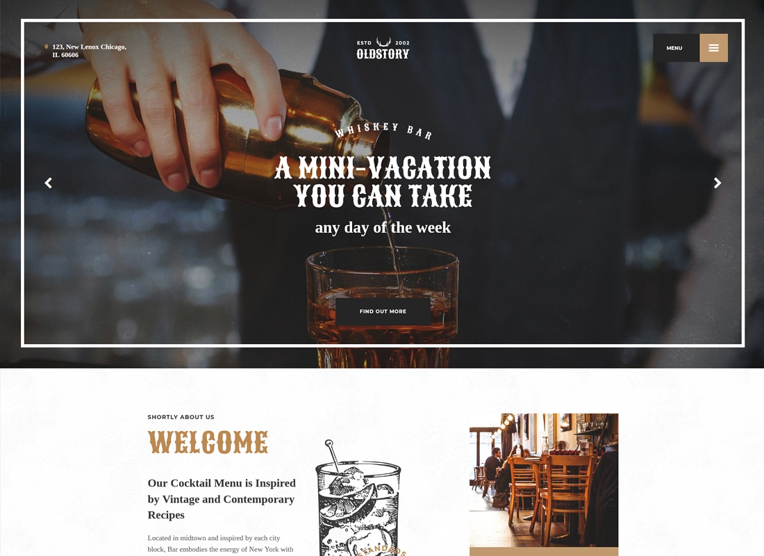 OldStory - Whisky Bar | Pub | Restaurant WordPress Theme   Website Template