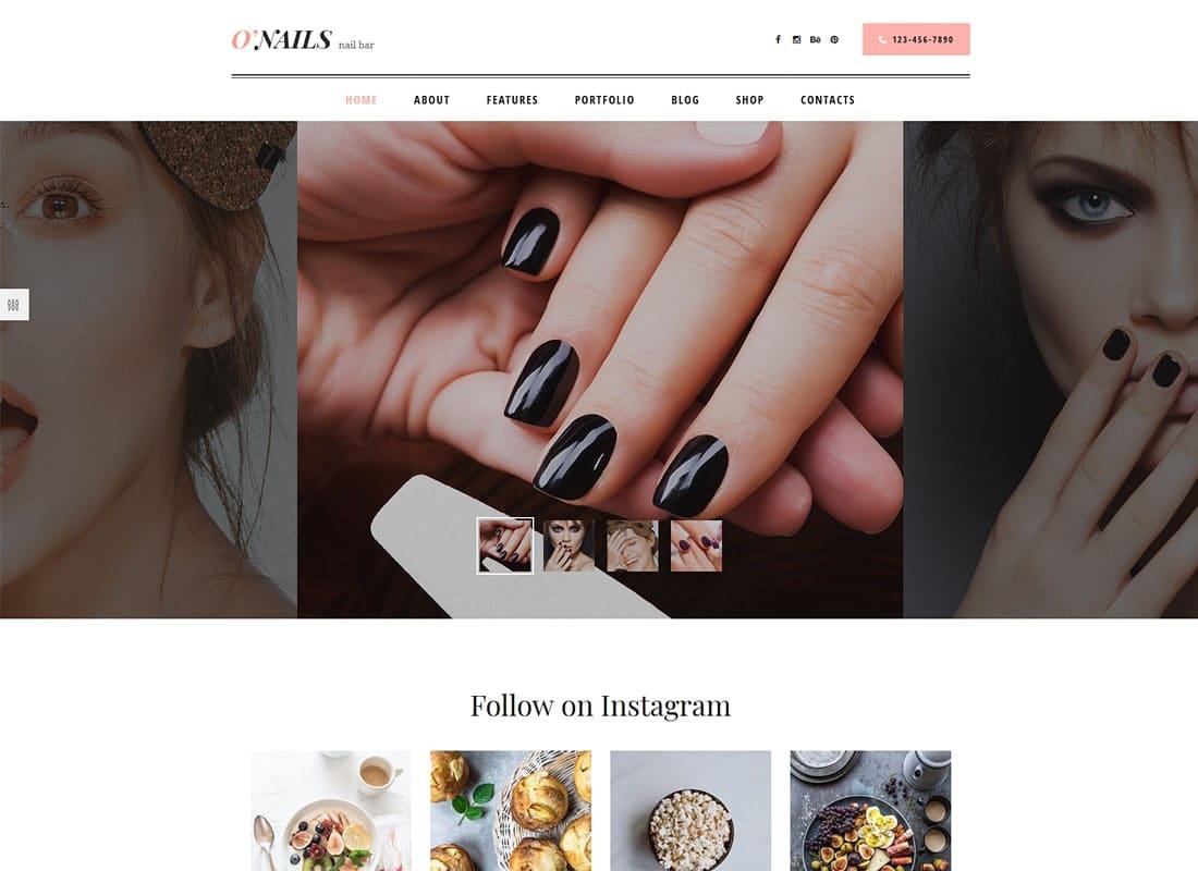 O'Nails - Nail Bar & Beauty Salon WordPress Theme Website Template
