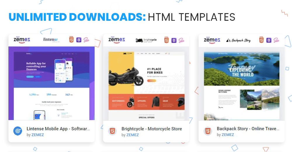 HTML templates unlimited access