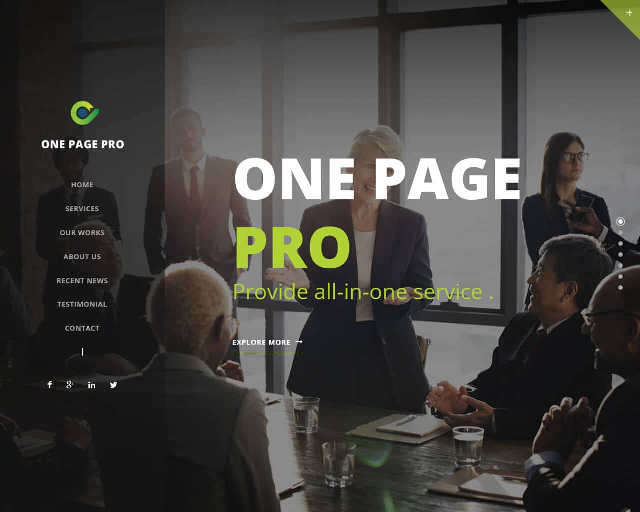 One Page Pro Website Template