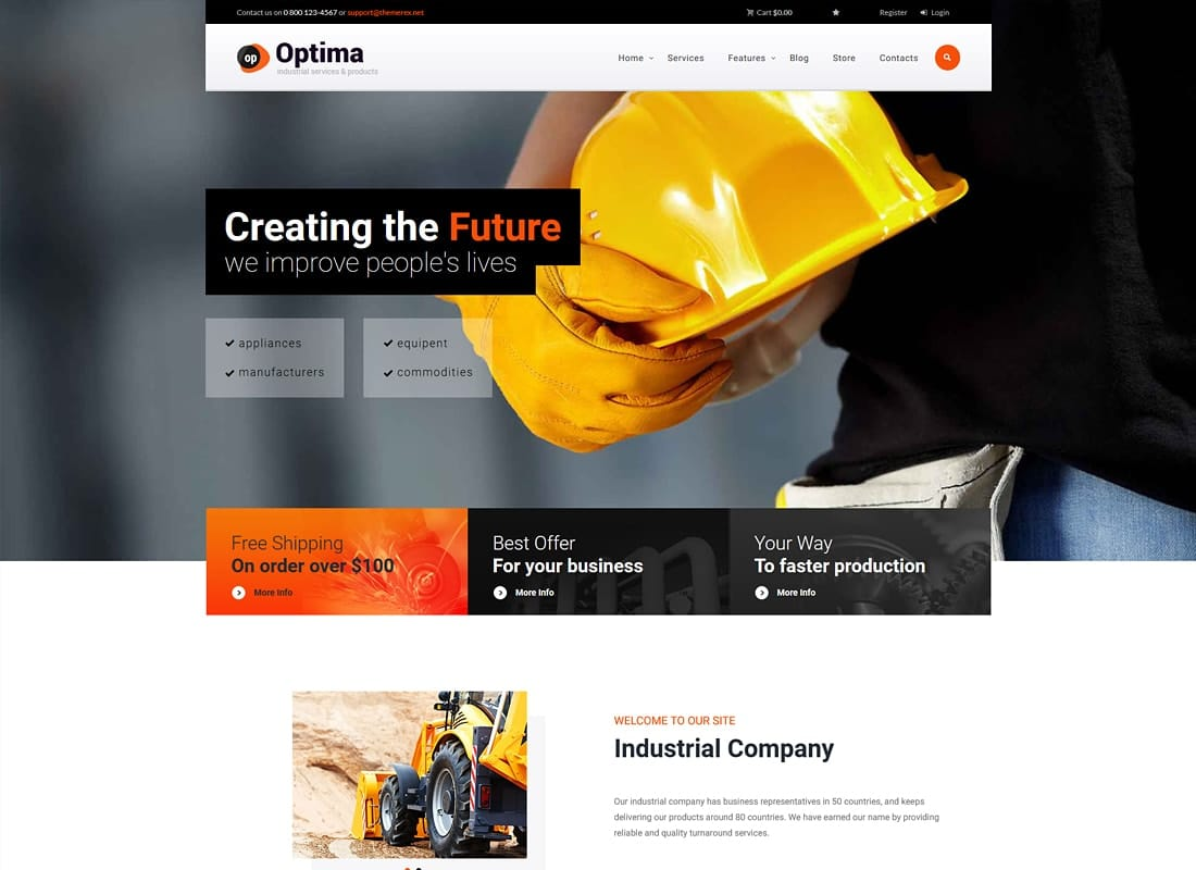 Optima | Steel Factory & Industrial Plant Manufacturing WordPress Theme Website Template