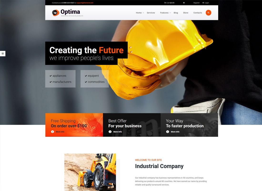 Optima | A Powerful Industrial WordPress Theme Website Template