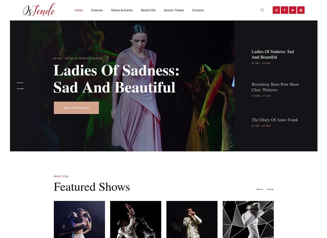 OsTende | Theater WordPress Theme Website Template