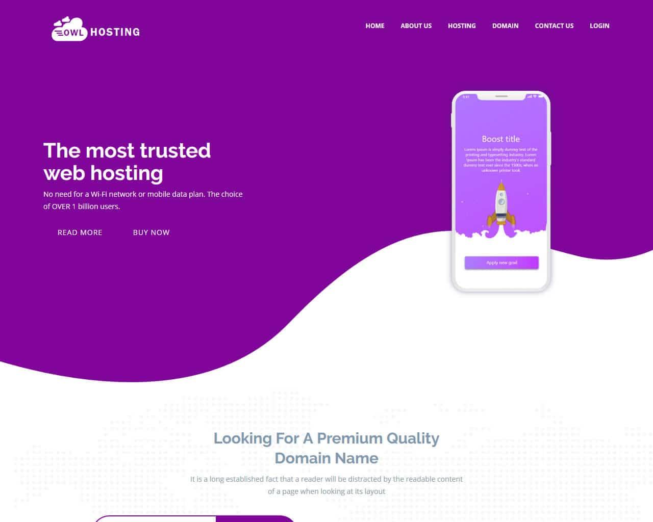 Owl Hosting Website Template