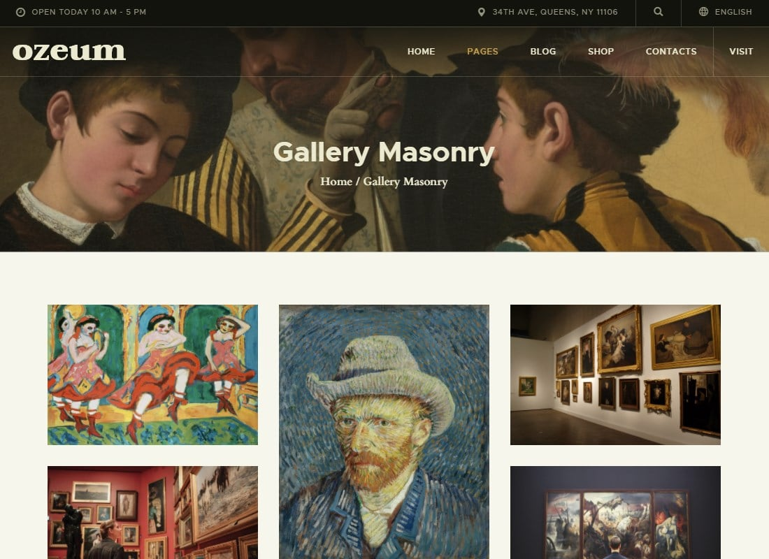Ozeum   Modern Art Gallery and Creative Online Museum WordPress Theme +RTL Website Template