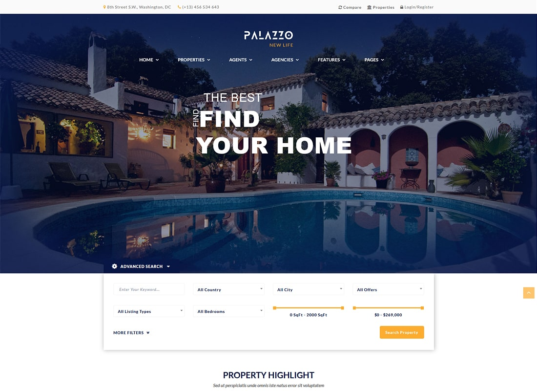 Palazzo - Real Estate WordPress Theme Website Template