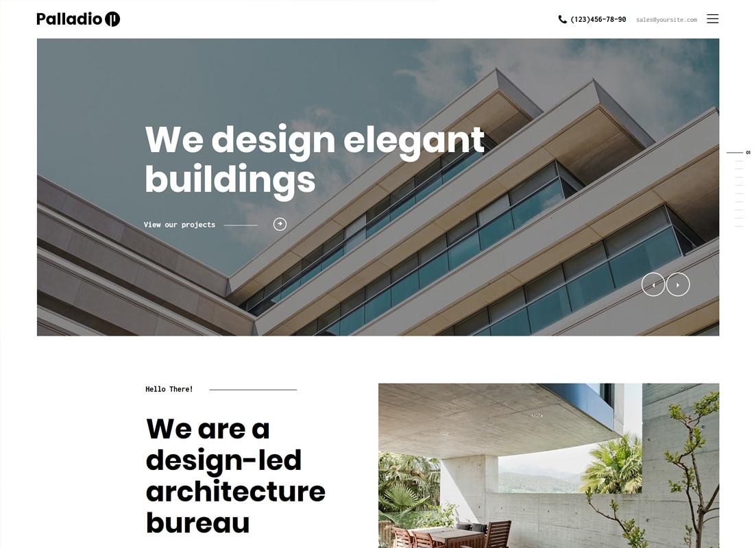 Palladio   Interior Design & Architecture Construction WordPress Theme Website Template