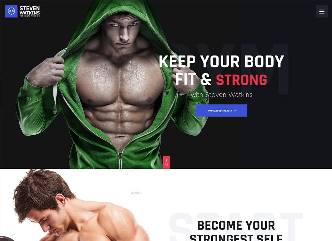 Steven Watkins | Personal Gym Trainer & Nutrition Coach WordPress Theme Website Template